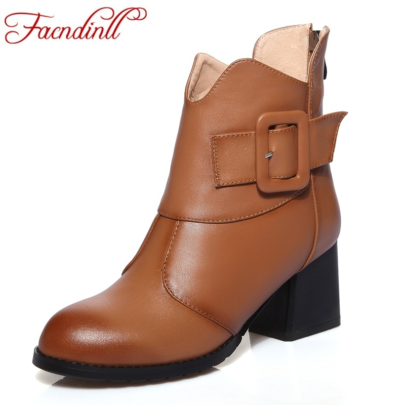 FACNDINLL fashion genuine leather women ankle boots shoes high heels round toe shoes woman dress party riding boots autumn boots 2016 new arrive high quality genuine leather high heels ankle boots fashion round toe simple leisure women autumn boots