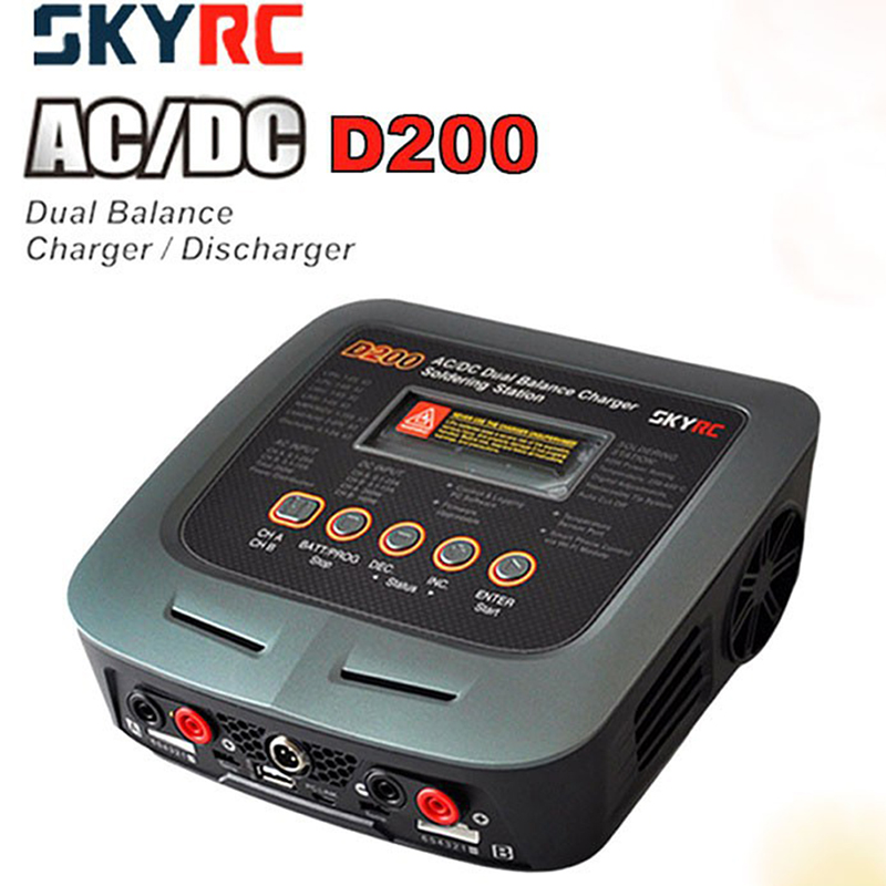 SKYRC D200 Intelligent Twin-Channel LCD AC/DC high power Dual Balance Charger/Discharger with Soldering Iron skyrc d100 2 100w ac dc dual balance charger 10a charge 5a discharge nimh lipo battery charger twin channel charge