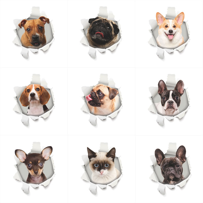 3D Vivid Hole Dogs Cats Wall Stickers Toilet Bathroom Decor Home Kitchen Room Decor Wall Refrigerator Mural Art Decals