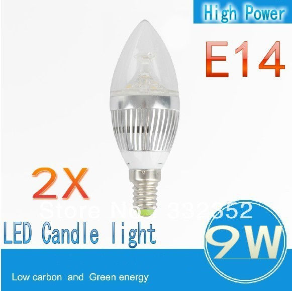 FREE Shipping  2XE14 3x3W 9W Dimmable AC85~265V LED Candel Light LED bulb lamp LED spotlight