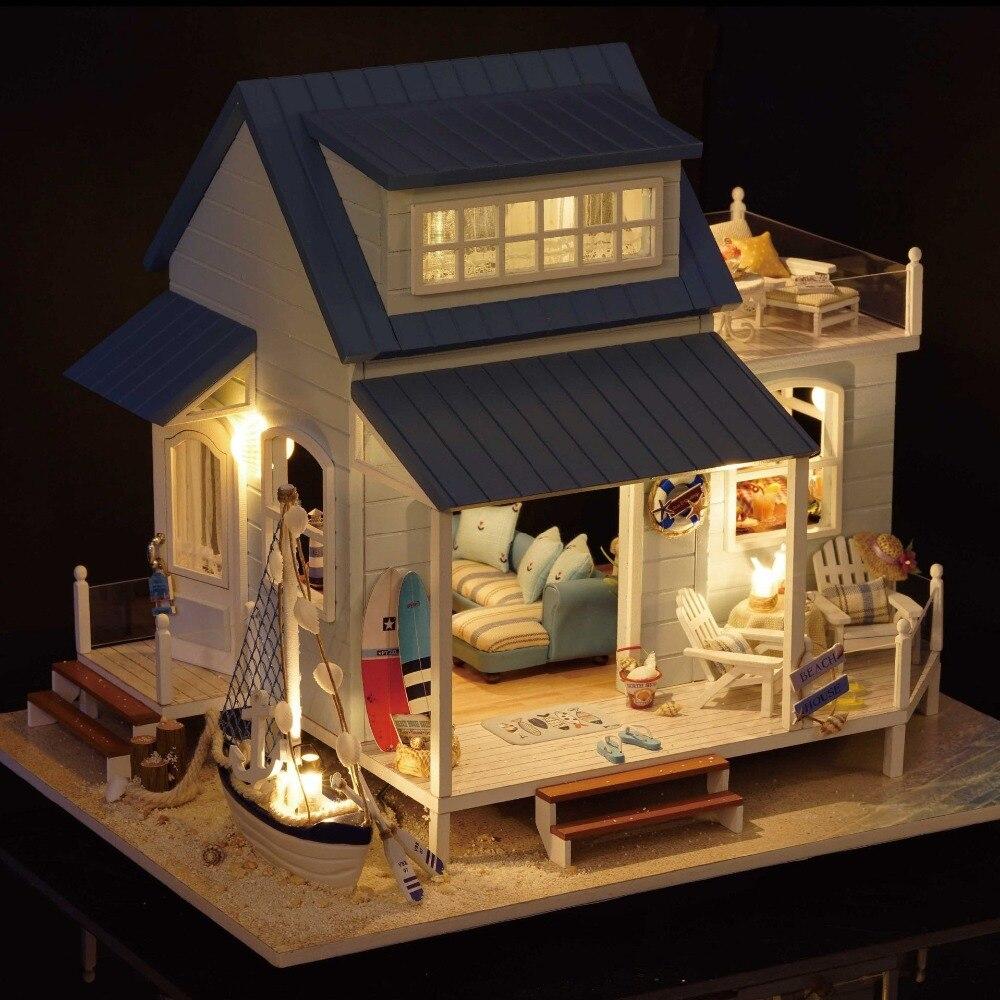 Ursprüngliche 3d diy karibik große ozean villa strand duplex haus led puppenhaus spiel sylvanian familien geschenk