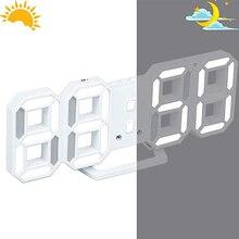Modern Digital 3D LED Wall Clock Alarm Clocks Snooze with 12/24 Hour Display  JDH99