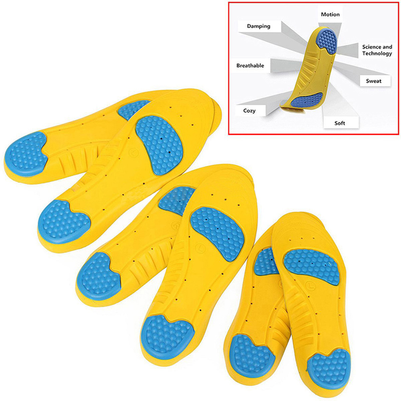 1 Pair Sukan Orthotics Arch Support Insoles Memory Foam Pads Cushioning Protection Pain Relief Shock Penyerapan Pad Foot Care