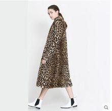 Newest  Women Autumn Winter X-Long Leopard Double Pocket Rabbit Fur Jacket V Neck Long Sleeves Fashion Fur Coat Clothes J296