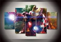 Framed Printed Cartoon Movie Iron Man 5 Piece Picture Painting Wall Art Children S Room Decor