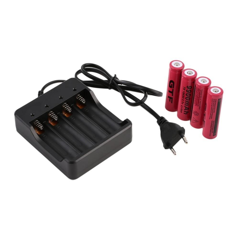 GTF 4 pcs 18650 3.7 V 9900 mAh Au Lithium-Ion Batterie Rechargeable + UE Batterie Batterie Chargeur Intelligent Indicateur