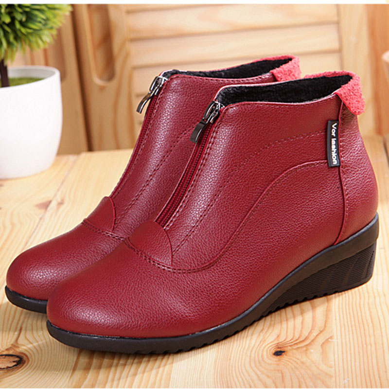 Women Boots Shoes Woman Ankle Boots Fur Shoes Zip Ladies Boots Leather botas mujer Black white red