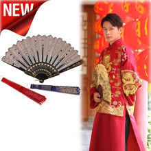 NEW Chinese Traditional Hollow Fan Wooden Hand Made Exquisite Folding Wedding Gift Bamboo bone performance sandalwood fan 2020(China)