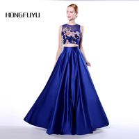 Newest Satin A Line 2 Piece Scoop Neck Long Prom Dresses 2017 Sleeveless With Pockets Appliques