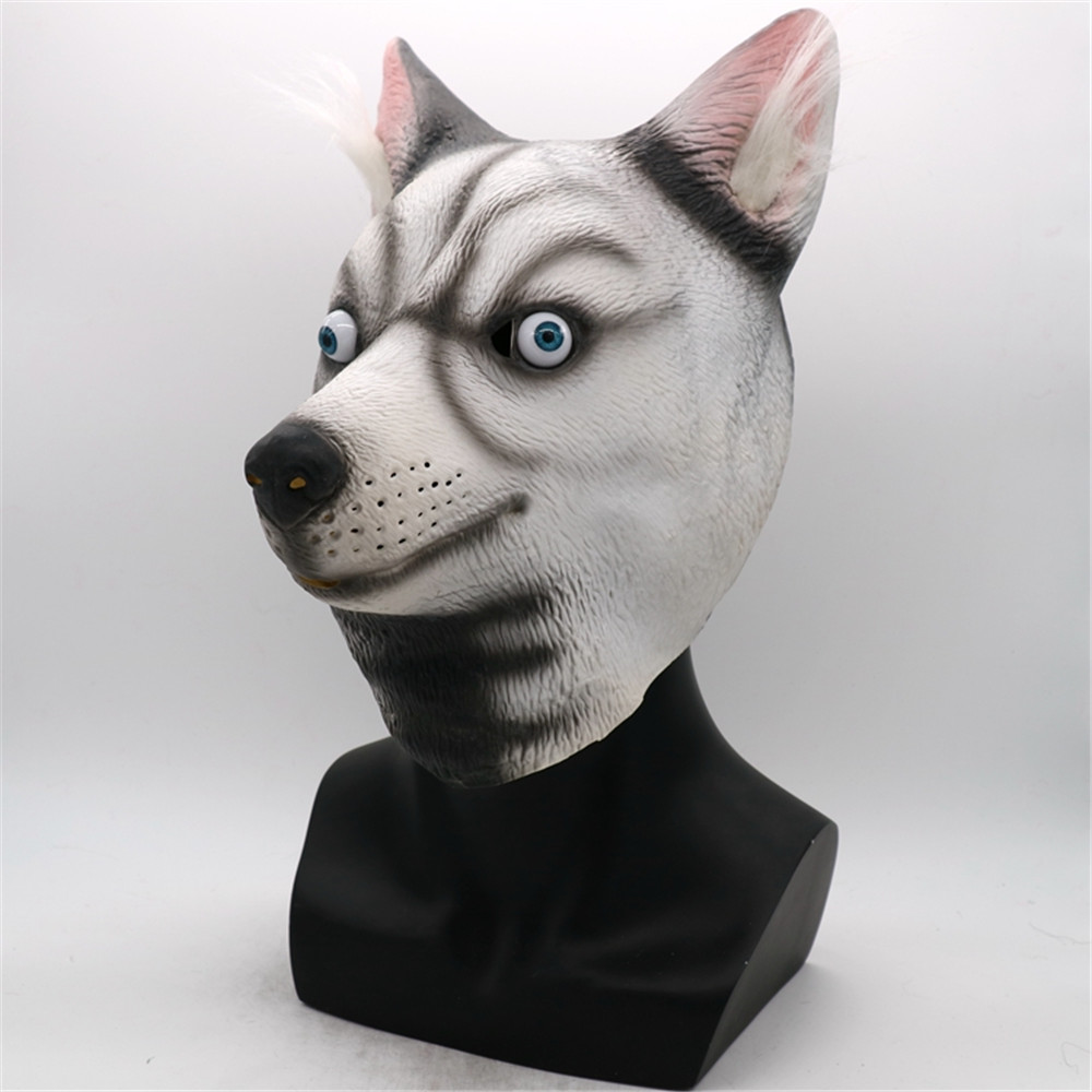 Halloween Siberian Husky Dog Latex Mask Novelty Costume Party Fancy Dress Animal Masks Party Cosplay Props adult