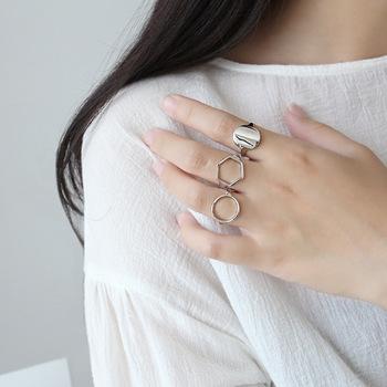 RYOUCUTE prawdziwe czyste srebro kolor biżuteria nowy koreański sześciokąt okrągłe pierścienie dla kobiet ślub palec otwarty pierścień Anillos Anelli tanie i dobre opinie Miedzi Kobiety Metal TRENDY Zespoły weselne Geometryczne Wszystko kompatybilny Nastrój tracker Statement Rings Brak Zaręczyny