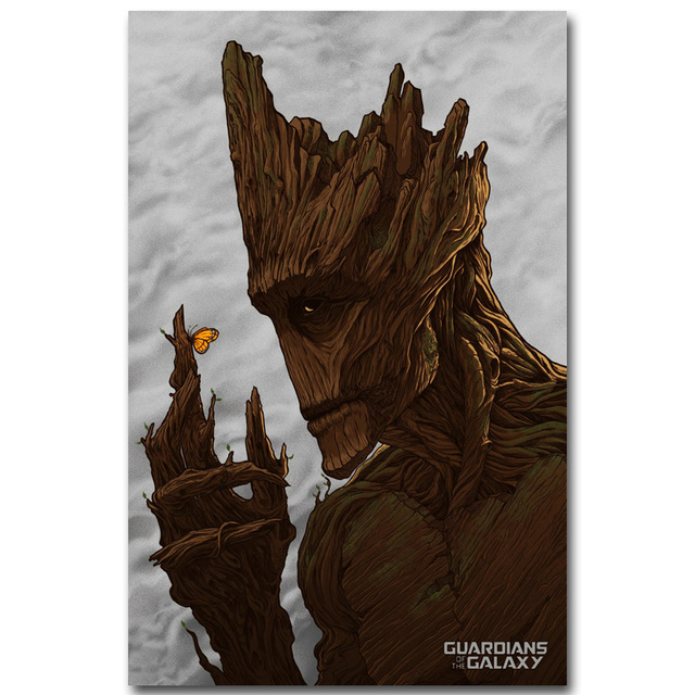 Groot – Guardian of The Galaxy Art Silk Fabric Poster Print 13×20 inch Superheroes Movie Picture for Living Room Wall Decor 001