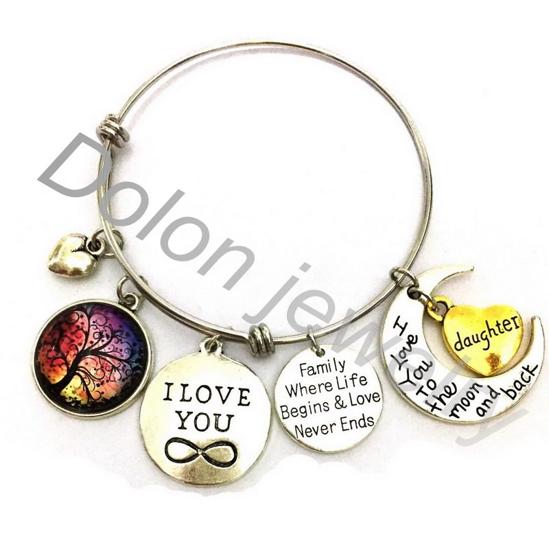 Christmas Family Charm Bracelet- Gift for Daughter-I Love You