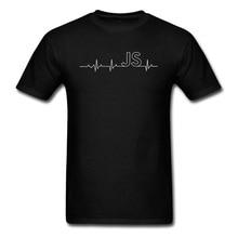 JS JavaScript Heartbeat Programmers Cheap Tshirt Coder Computer Javascript  Pure Cotton Designers Fashion Men's T Shirt Print майка борцовка print bar javascript