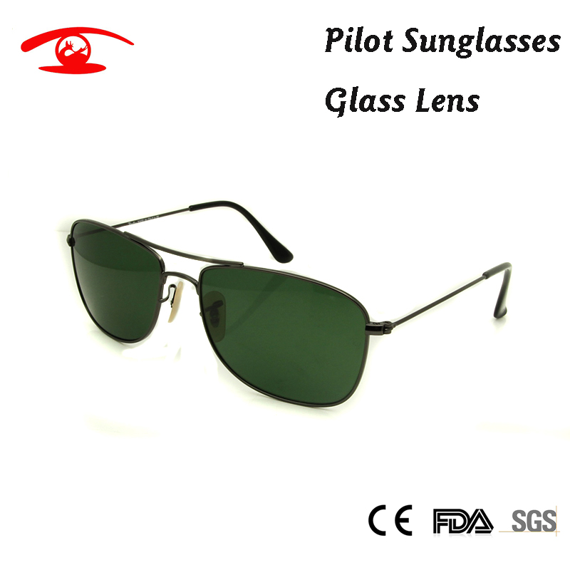 2018 Nouveau Haute Qualité Pilote lunettes de Soleil Hommes G15 Vert En Verre Lunettes de Soleil pour Hommes Marque Designer oculos Lentille à Gradient Femmes