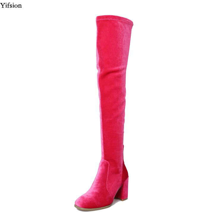 Olomm New Arrival Women Over The Knee Boots Square High Heel Boots Stylish Square Toe 5 Colors Party Shoes Women US Size 3-10Olomm New Arrival Women Over The Knee Boots Square High Heel Boots Stylish Square Toe 5 Colors Party Shoes Women US Size 3-10