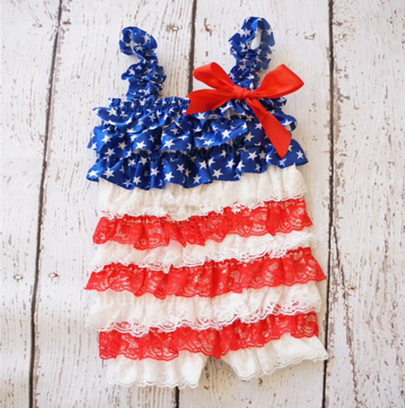Baby Girls Lace Romper Fourth Of July Lace Petti Romper Newborn Baby 1st Patriotic Day Outfit