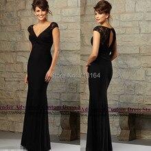 Elegant long open back short sleeve bridesmaid dresses 2017 new sexy open back black party dress formal gown vestido de festa