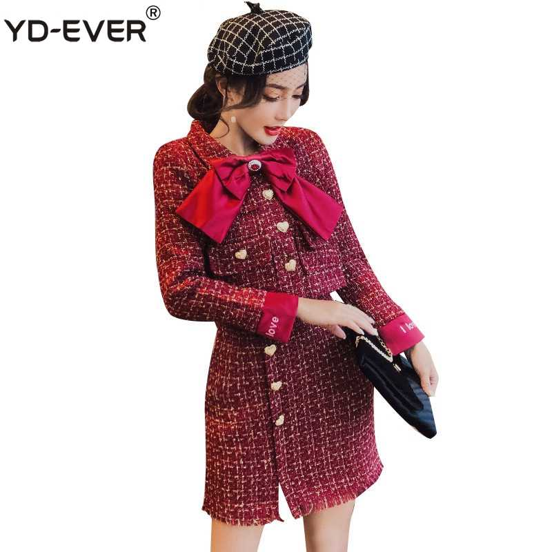 dc789574da Gold Button Pocket Red Tweed Wool 2 Piece Set Winter Women Diamonds Bowknot  Short Jacket+