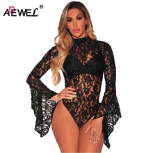 SEBOWEL 2017 Autumn Long Flared Sleeve Lace Bodysuit Women Sexy Open Back Bodycon Rompers Overalls High Neck Mini Body tribal print open back mini bodycon dress