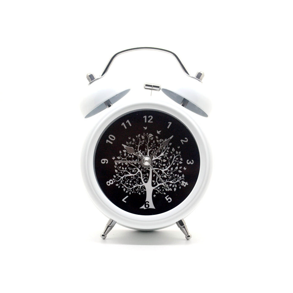 3 Inch Round Wishing Tree  Metal Double Bell Silent Desktop Clock Table Alarm Clock With Night light|Desk & Table Clocks|   - AliExpress