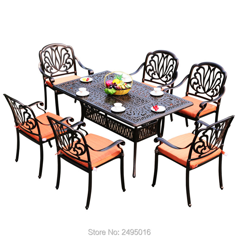 7 piece cast aluminum patio furniture outdoor furniture transport by sea - Cast Aluminum Patio Furniture