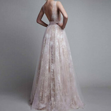 FREE SHIPPING !! Sexy Deep V-Neck Backless Evening Lace Long Maxi Dress JKP993