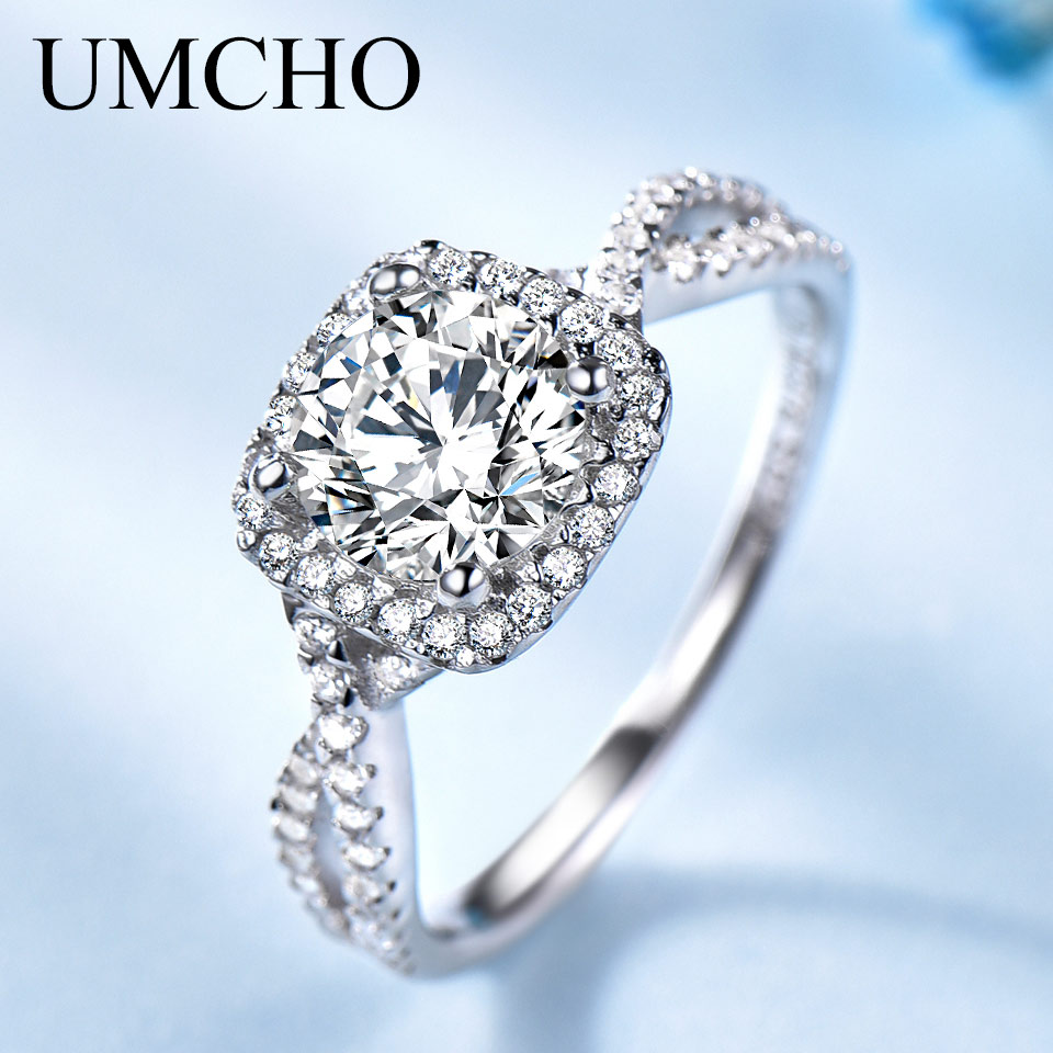 UMCHO Romantic Solid 100% 925 Sterling Silver Rings Wedding Bands Charm Rings For Women Engagement Valentine's Gift Fine Jewelry