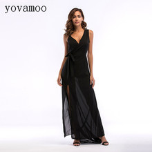 Yovamoo Summer Chiffon Maxi Dress 2018 Womens Sexy V-neck Split Spaghetti Strap Long Black Dresses