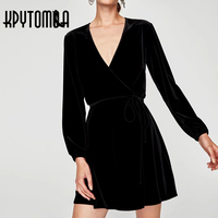 Vintage Chic Sexy Cross V Neck Velvet Mini Dress Women 2017 New Fashion Bow Tie Long