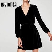 Vintage Chic Sexy Cross V Neck Velvet Mini Dress Women 2017 New Fashion Bow Tie Long