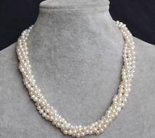Natural Pearl Jewellery,White Color Genuine Freshwater Pearl Necklace,18 inch 4 Rows 5-6mm Fashion Lady's Pearl Jewelry