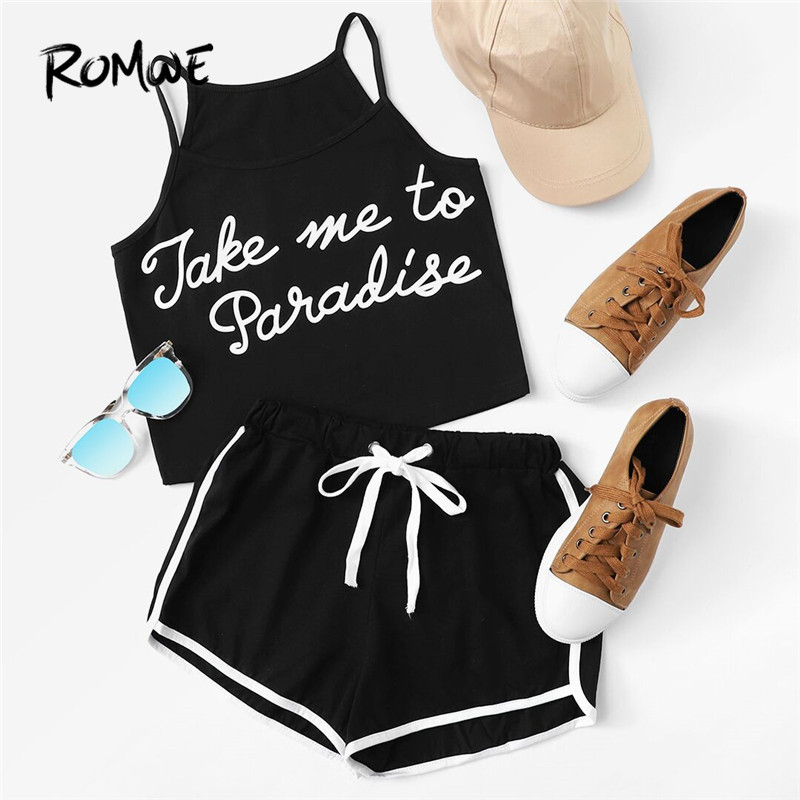 ROMWE Slogan Print Cami With Ringer Shorts 2019 New Summer Spaghetti Strap Knot Women Clothing Sleeveless Letter Women Sets