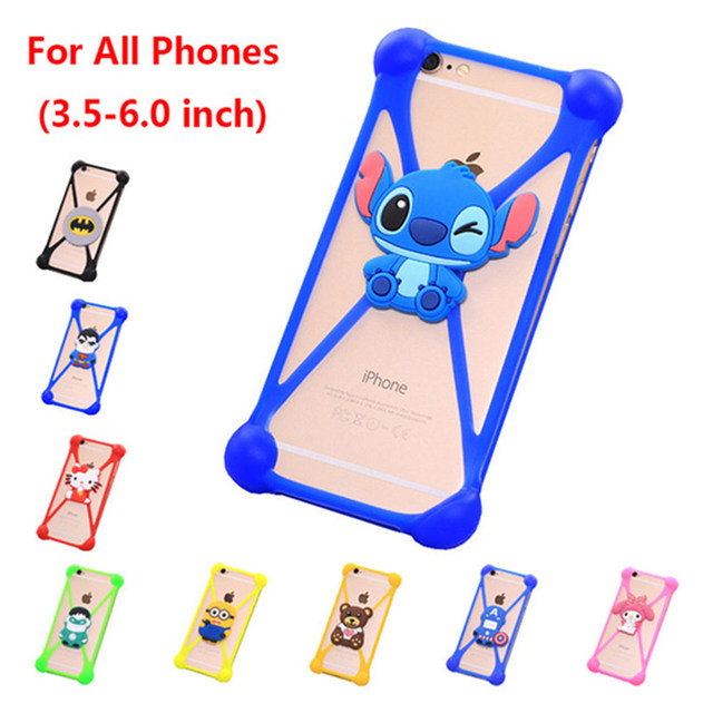 Newest Cute Cartoon Universal 3.5-6.0 inch Cell Phone Holster Cases Fundas For Philips W536 Case Silicon Coque Back Cover Shell