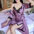 2016 Fashion New Mulheres Sexy Lace Camisola + Conjuntos de Pijama Roupão de Cetim de Seda Meia Manga Sleepwear Conjunto salão feminino Camisola