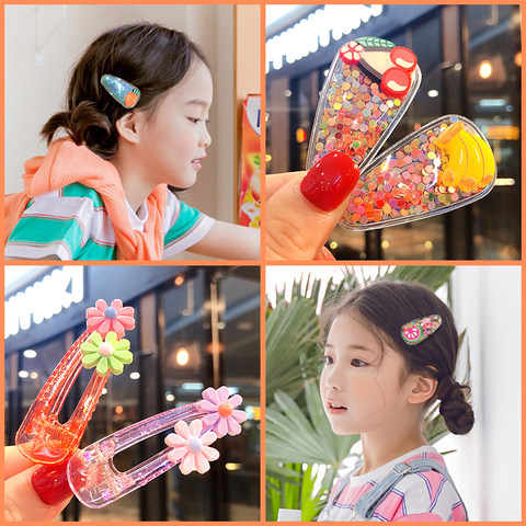 2019 Ins 5Pcs/Set Baby Girls Fruit Sequin Princess Shiny Colorful Hair Clips Sweet Headwear Hair Accessories Hairpins Barretts Lahore