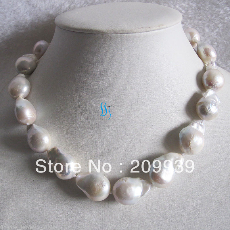 free shipping>>@@ JY&2683 18 13-25mm White Nuclear Freshwater Pearl Necklacefree shipping>>@@ JY&2683 18 13-25mm White Nuclear Freshwater Pearl Necklace