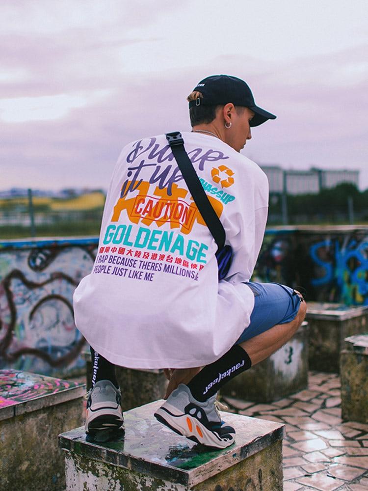 Straße hip hop T shirt spaß text druck lose schulter kurzarm bodenbildung hemd männlich