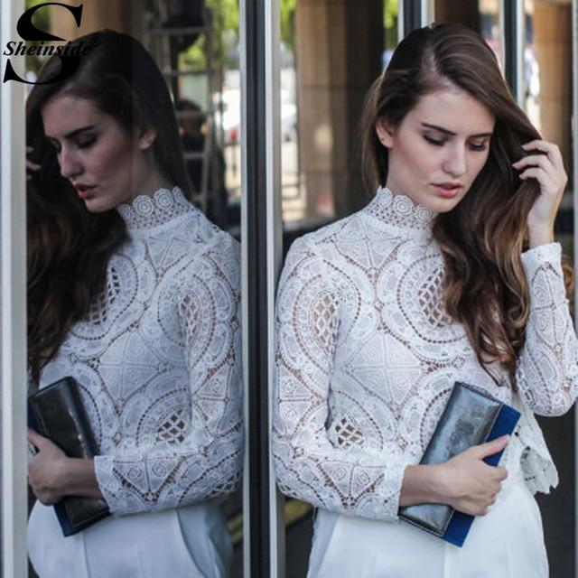 Sheinside белая кружевная блуза с длинным рукавом выдалбливают Для блуза Блузки для малышек богемский Стиль блуза элегантные модные блузы