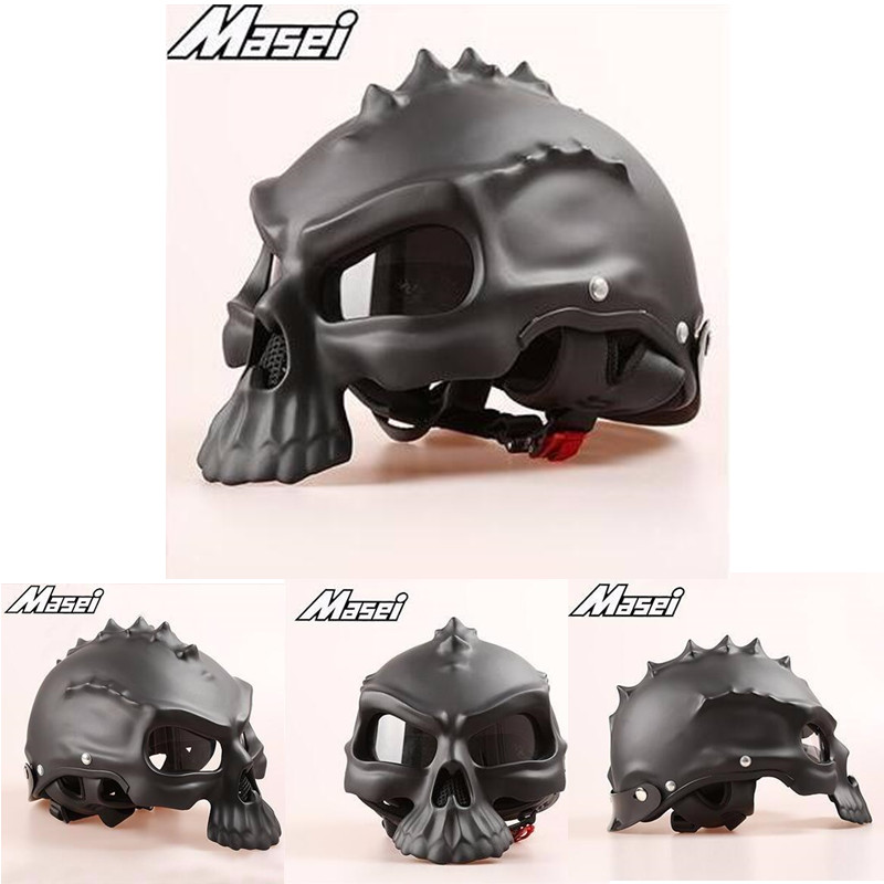 (1pc&11colors) DOT Approval Factory Outlets Masei CG489 Brand Half Face Motor Helmet Motorcycle Skull Helmets Capacetes Casco