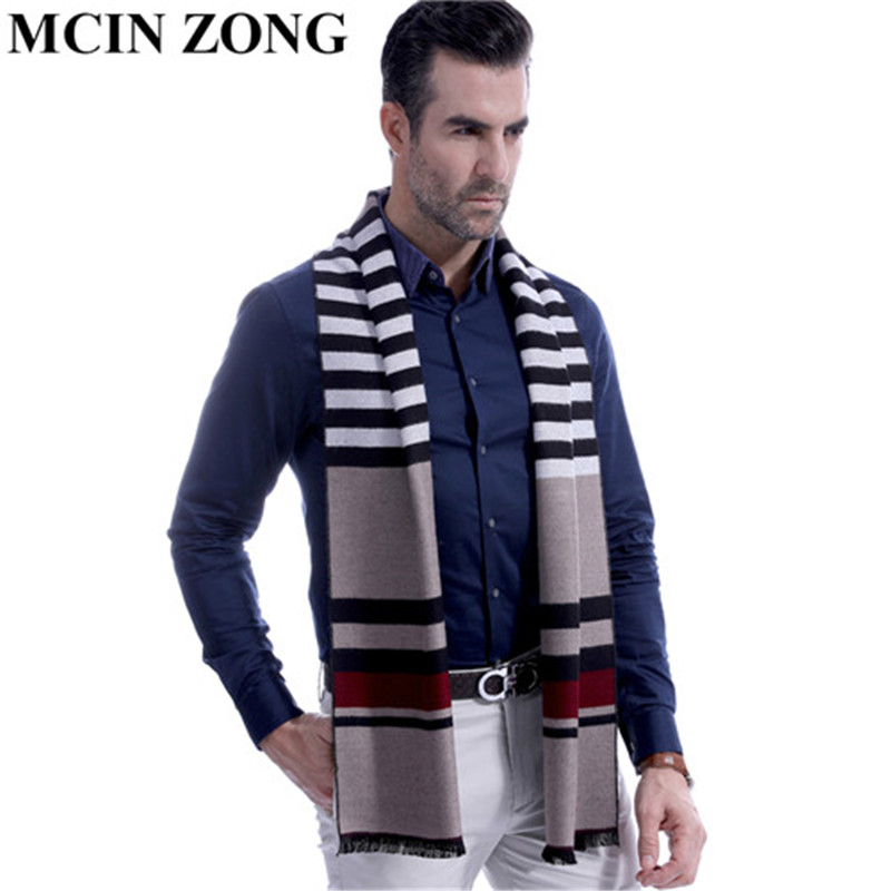 Men   Scarf   Winter Autumn Man   Scarves     Wrap   Shawl Thick Striped Men's   Scarf   Warm Cotton Cashmere Wool Blended Knit Brushed   Scarf