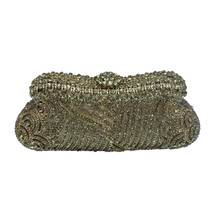 Women's Luxury Crystal Evening Bags Gold and Rhinestone Crystal Clutch Bags for Party Wedding Prom Bridal