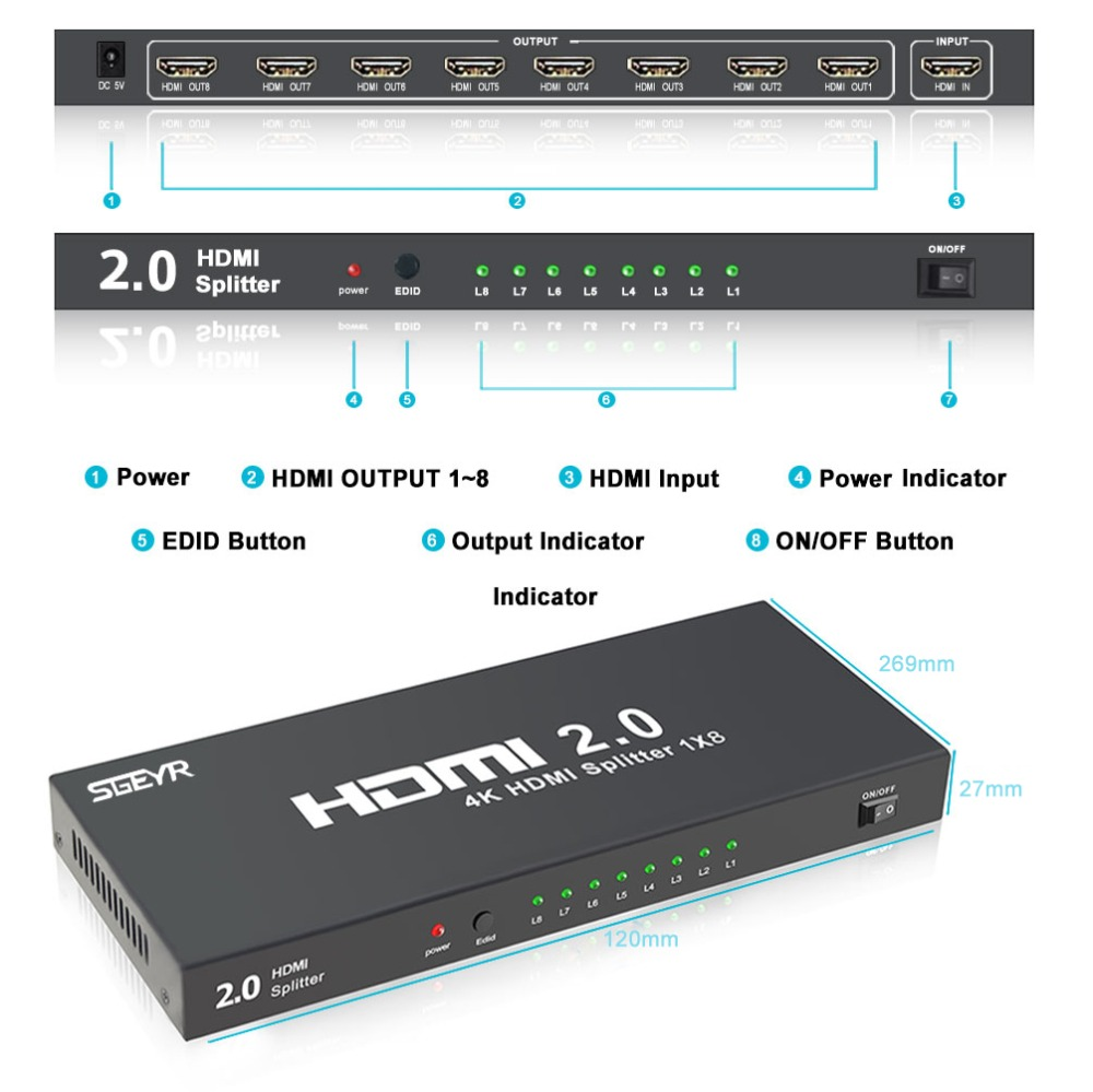 HDMI Splitter SGEYR 1x8 8 Port HDMI Splitter 2.0 4K@60Hz Splitter HDMI 1 input 8 Output 4Kx2K/60Hz HDCP 2.2 for HDTV PC