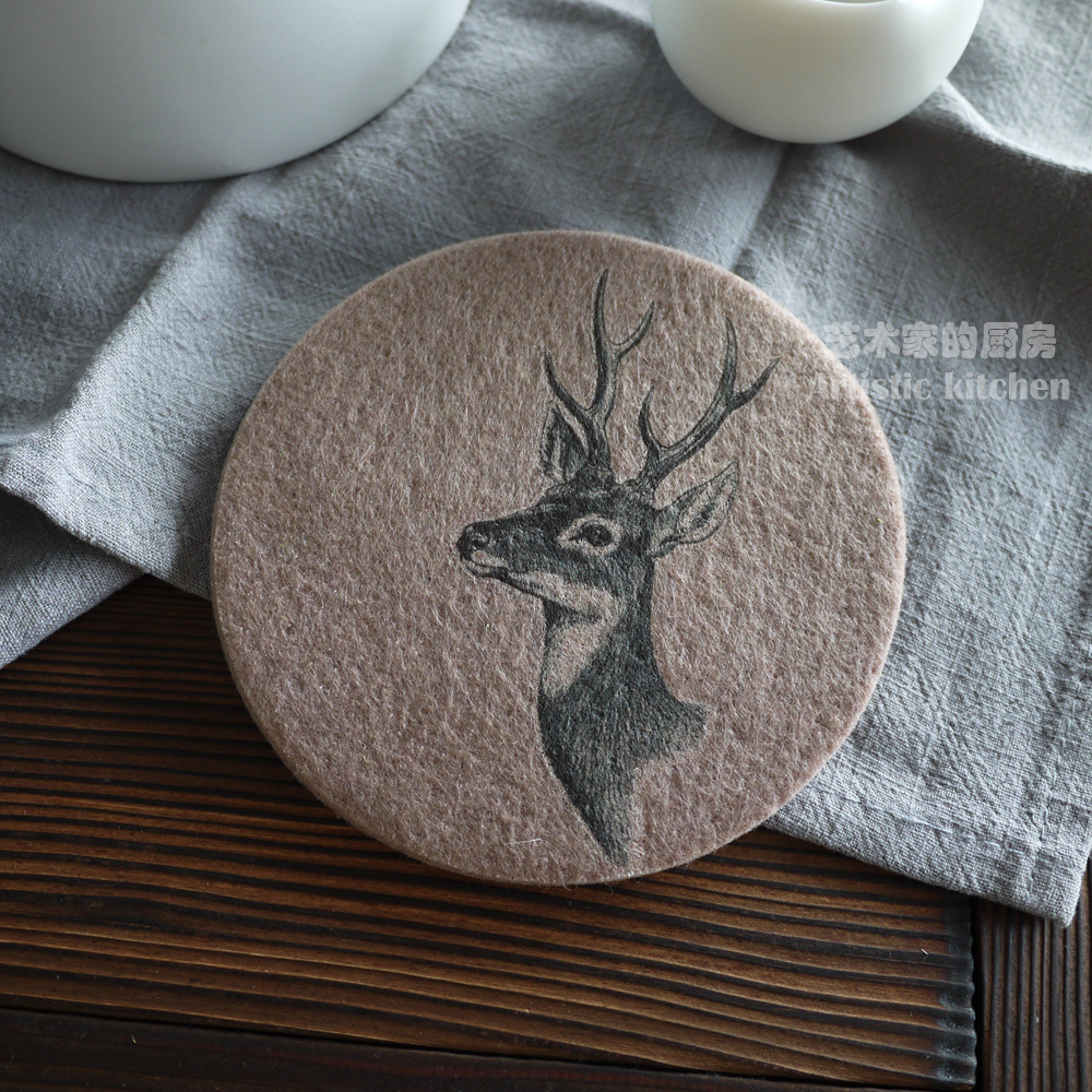 5pcs/set Felt Mat Handmade Teacup Coaster for Pots and Pans Insulated with Water Designer Original