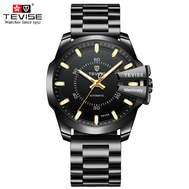 TEVISE Luminous Men Watch Fashion Luxury Stainless Steel Wristwatch Automatic Mechanical Self Wind Casual Auto Date Watches T814 tevise fashion casual men automatic watch silver stainless steel auto date mechanical self wind original brand wristwatch 8377g