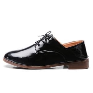 Image 3 - O16U Women Derby Shoes Dress PU Lace up Square Toe Oxfords Shoes Flat Women Black Casual Shoes Office Ballet Flats Women Shoe