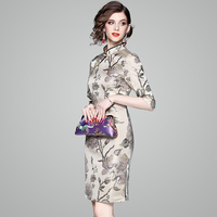 Embroidery Floral Chinese Style Dress Apricot Causual Vestidos Slim Women Daily Dress Gown Qipao Asian Style Charming Dress