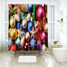 цена на 3d Colorful Christmas Ball Pattern Shower Curtains Bathroom Curtain Thicken Waterproof Thickened Bath Curtain for New Year
