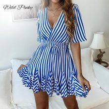 WildPinky Vintage Striped Women Dress V neck Ruffle Cotton Short Summer Plus Size Sexy Casual Lady female Vestido Festa