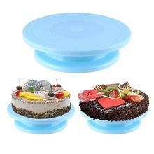 Plástico giratorio antideslizante redondo pastel bandeja giratoria para decoración soporte pastel plato de mesa rotativo cocina DIY Pan herramienta para hornear herramienta casera